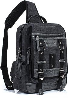 Retro Messenger Bag Sling Bag Outdoor Cross Body Bag Shoulder Bag Black