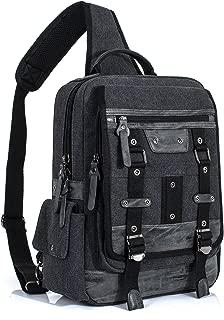 Leaper Retro Messenger Bag Sling Bag Outdoor Cross Body Bag Shoulder Bag Black