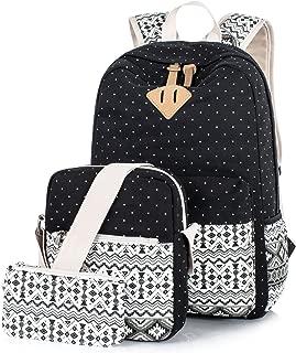 Leaper Cute Polka Dot Canvas Laptop Backpack Shoulder Bag Pencil Case (3PCS) Black