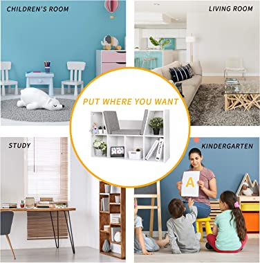 MUPATER Kids Reading Nook Organizer with Storage Bookshelf and Detachable Cushions, 6-Cubby Bookcase Cabinet for Kids Room an