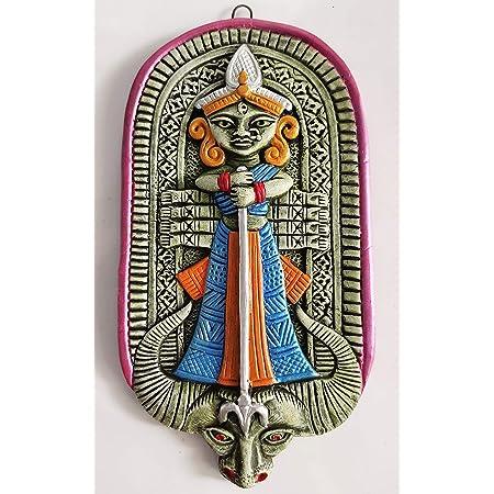 Mukherjee Handicraft's Terracotta Maa Durga Ma Dura Sherawali Maa Wall Hanging Showpiece for Home Decor.
