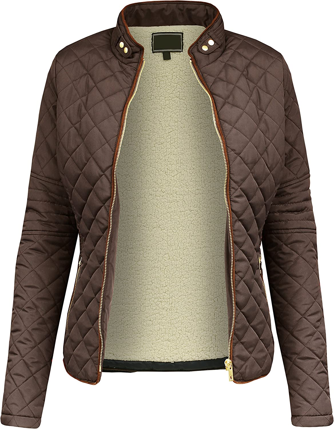 BEKDO Womens Cozy Fashion Faux Fur Lined Quilted Long Sleeve Zip Up Jacket