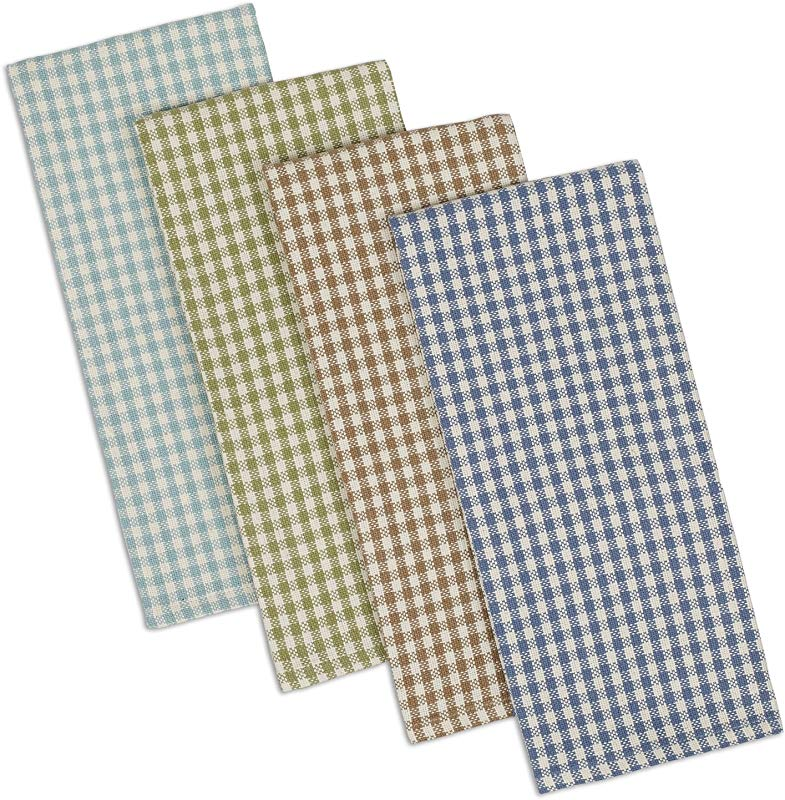 DII Cotton Heavyweight Plaid Dish Towels Kitchen Gift 18 X 28 Set Of 4 Drying And Cleaning Kitchen Towels For Everyday Cooking And Baking Lake House Check