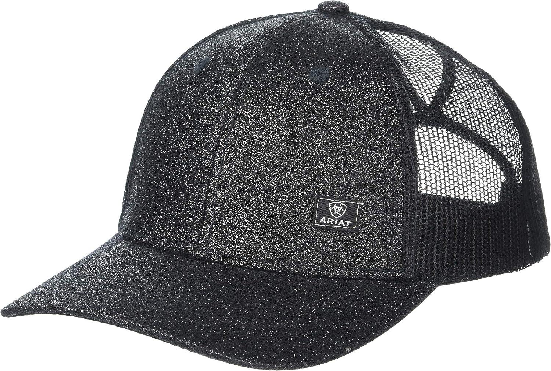 ARIAT Offset Logo Glitter Messy Bun Snapback Cap Black Glitter One Size