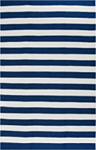 Fab Habitat Indoor/Outdoor Floor Mat/Rug - Handwoven, Made from Recycled Plastic Bottles - Nantucket/Blue & White, 3' x 5'