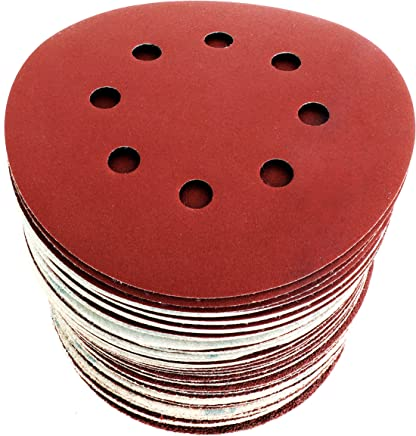 Dischi Carta Abrasiva 125 mm: 60 dischi una grana diversa: 40/60/80/120/180/240. Dischi 8 fori per levigatrice orbitale