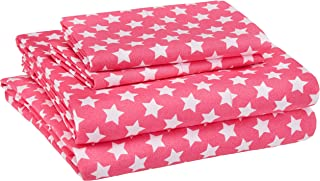AmazonBasics Kid's Sheet Set - Soft, Easy-Wash Microfiber - Queen, Pink Stars