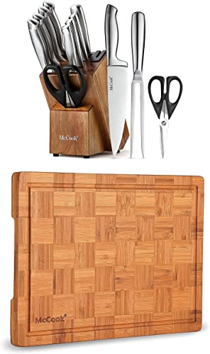"""discount McCook MC35 German Stainless Steel Hollow Handle Self Sharpening online Kitchen Knife Set + MCW12 discount Bamboo Cutting Board (Large, 17""""x12""""x1"""") online"""