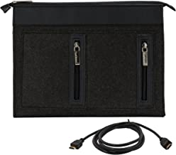 "Vangoddy EXO Woolen Felt Universal Sleeve for 17"" Laptops with 7 Port USB 2.0 Hub Cable (6 Feet) and All in One Card Reader Combo Bundle Black Onyx Black 17 inch"