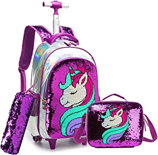 Girls Rolling Backpack Kids Backpacks with Wheels Backpack for Girls for School with Lunch Box Unicorn Reversible Sequin School Bags