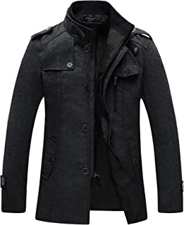 Men's Wool Blend Jacket Stand Collar Windproof Pea Coat