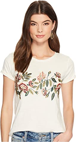 Lucky Brand - Rose Embroidered Tee