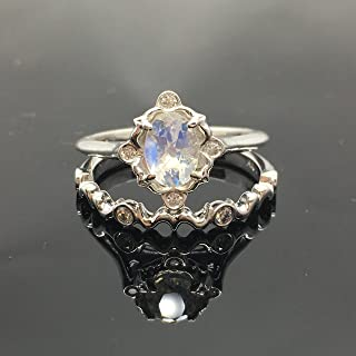 Moonstone Engagement Ring Set - 0.925 Sterling Silver Victorian Moonstone Bridal Set - Vintage Inspired Rainbow Moonstone Ring and Band
