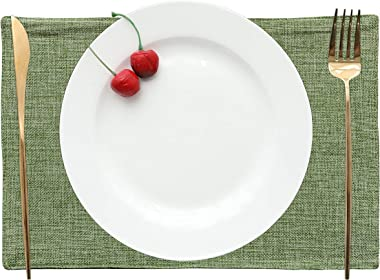 Home Brilliant Spring Decorations Placemats Set of 4 Heat Resistant Dining Table Place Mats Kitchen Table Mats, Grass Green