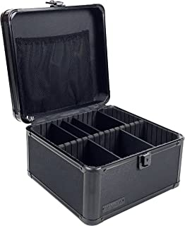 Vaultz Locking Storage Box with Key Lock, Mesh Pocket and Adjustable Interior Compartments, Tactical Black (VZ01036)