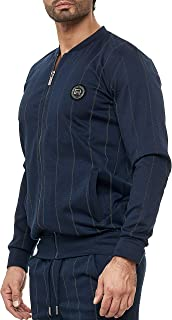 Red Bridge - Modern Casual Striped Jacket with Two Built-in Pockets, Logo on Chest and Zipper for Men.