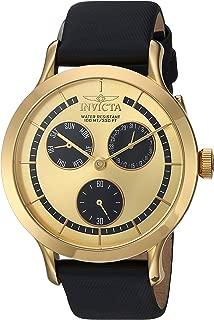 Invicta Women's Angel Quartz Watch with Leather-Calfskin Strap, Black, 18 (Model: 22495)