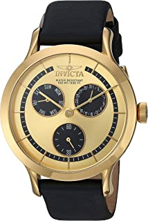 Invicta Women's Angel Quartz Watch with Leather-Calfskin Strap, Black, 18 (Model: 22495)