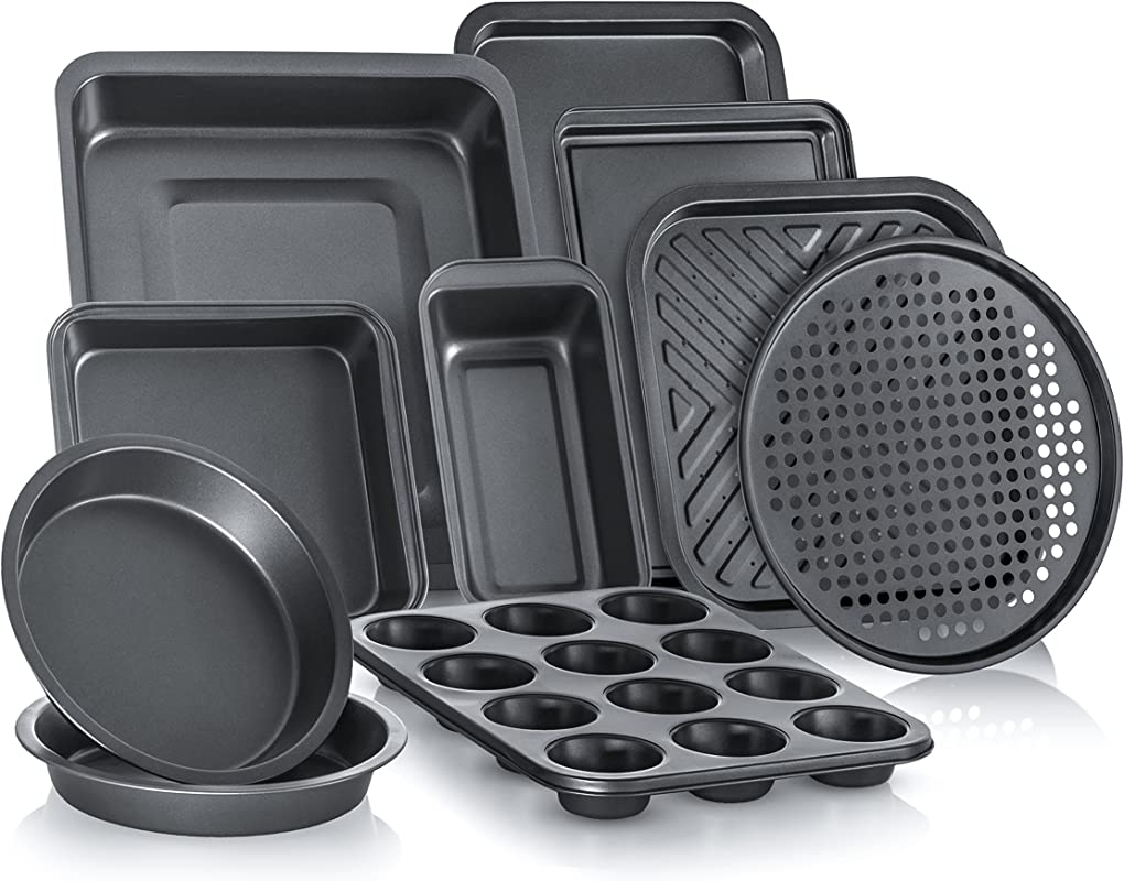 Perlli Complete Bakeware Set 10 Piece Non Stick Oven Crisper Pizza Tray Roasting Loaf Muffin Square 2 Round Cake Baking Pans Large And Medium Nonstick Cookie Sheet Bake Ware For Home Kitchen