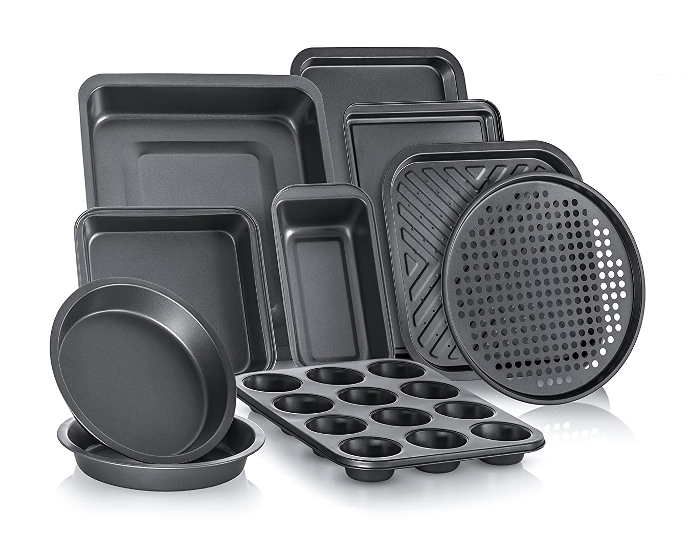 Perlli Complete Bakeware Set 10-Piece Non-Stick, Oven Crisper, Pizza Tray, Roasting, Loaf, Muffin, Square, 2 Round Cake Baking Pans, Large and Medium Nonstick Cookie Sheet Bake Ware for Home Kitchen
