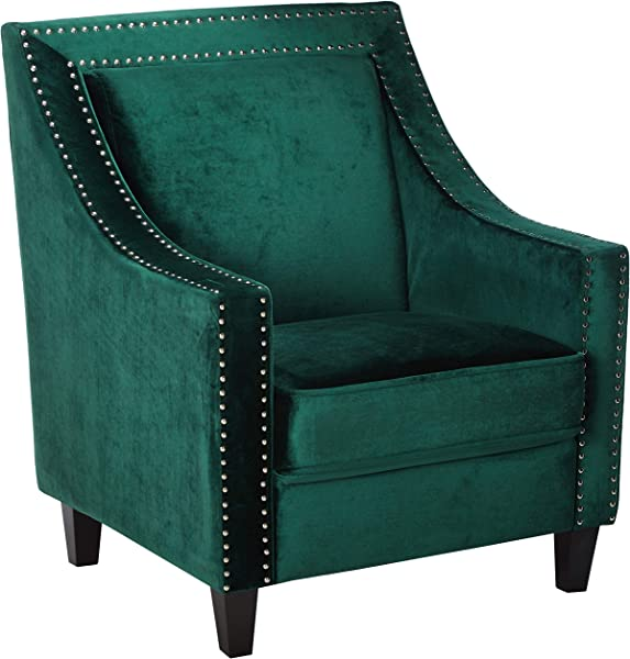 Iconic Home FAC2994 AN Camren Accent Club Chair Velvet Upholstered Swoop Arm Silver Nailhead Trim Espresso Finished Wood Legs Modern Contemporary Green