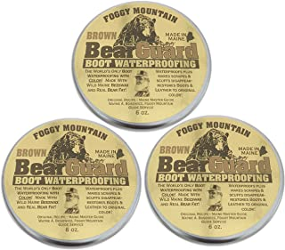 Foggy Mountain, a Maine Outdoor Solutions Brand Bear Guard Brown - Boot and Leather Waterproofing with Color - Beeswax and Bear Grease - 3 Pack