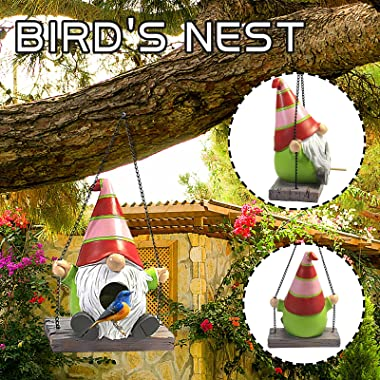 Gnome Bird House Swings On A Wood Look Swing with Black Metal Chains,Gnome Birdhouse for Outside Hanging with Clean Out Hole,