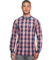 Ben Sherman Long Sleeve Linen Slub Buffalo Shirt