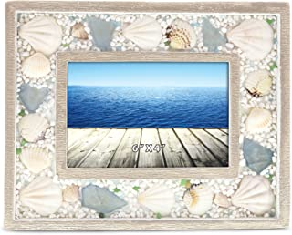 CoTa Global Oceanic Nautical Intricate Sea Shell Wooden Photo Frame, Ocean & Sea Life Themed Tabletop Photo Frame Unique Handcrafted Hand-Painted Home Accent Accessories Party Centerpiece (6 x 4)