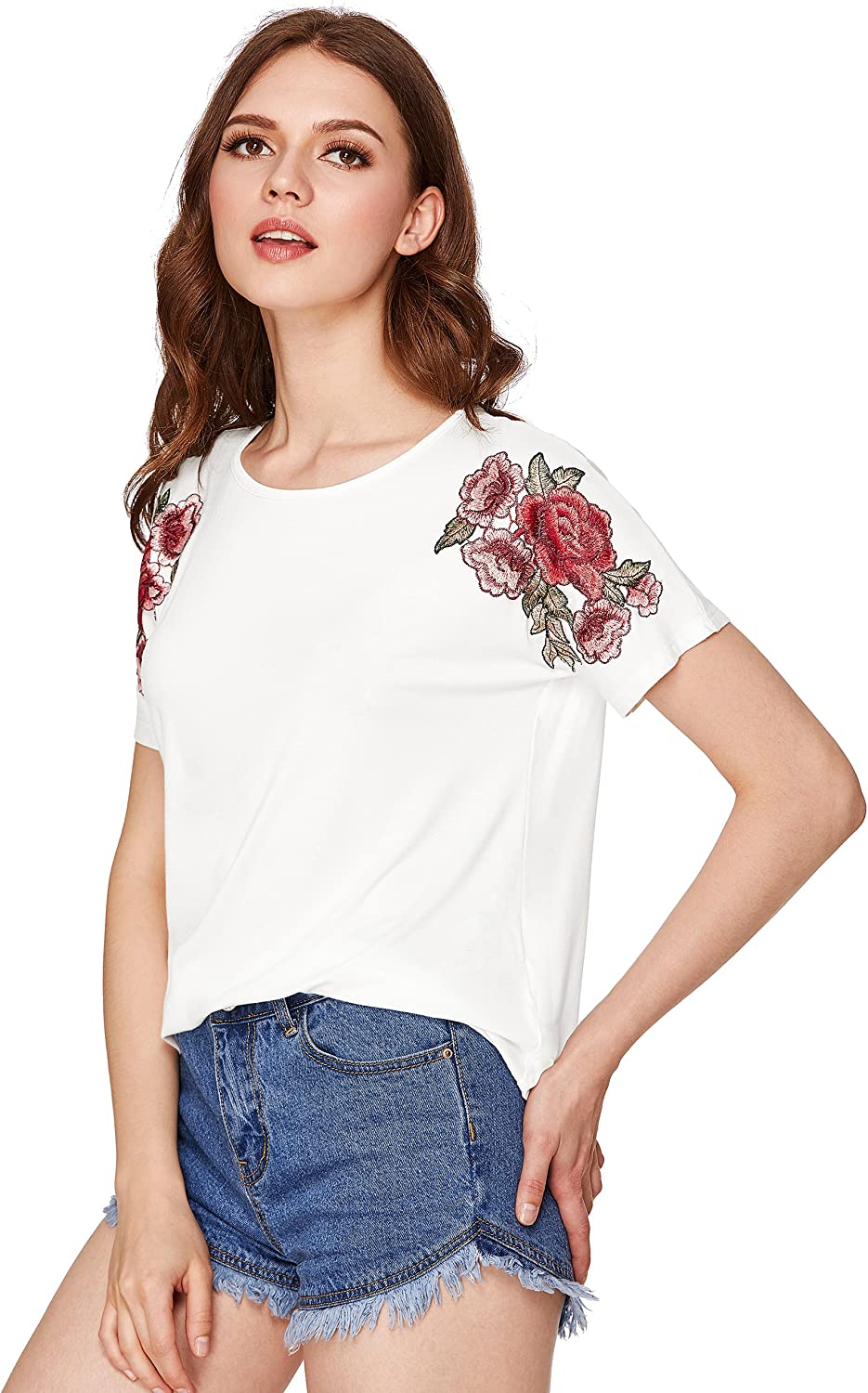 Milumia Women's Embroidered Flower Patch Short Sleeve Tees TShirt Tops