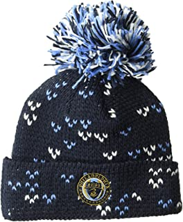 adidas MLS Philadelphia Union Women's Fan Wear Cuffed Pom Knit Beanie, One Size, Navy