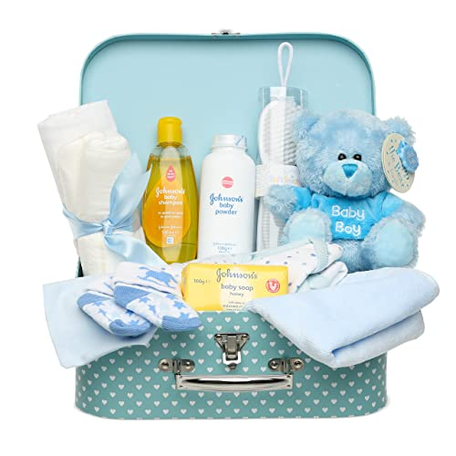 74a1fa938e90e Newborn Baby Gift Set – Keepsake Box in Blue with Baby Clothes, Teddy and  Gifts