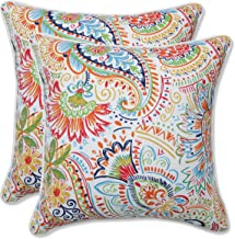 Pillow Perfect Outdoor | Indoor Gilford Festival 16.5 Inch Throw Pillow, 16.5 X 16.5 X 5, Blue