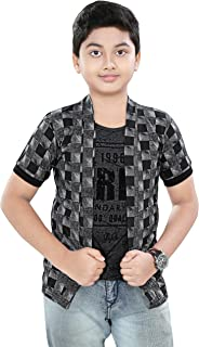 SDS Fashion Boy's Half Sleeve Cotton Grey Printed Round Neck T-Shirt with Checked Jacket Shrug and Black Ribs Look Smart a...