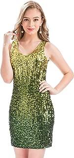 MANER Women's Sexy V Neck Sequin Glitter Bodycon Stretchy Club Mini Party Dress