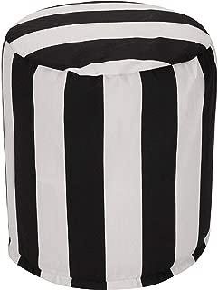 Majestic Home Goods Black Vertical Stripe Indoor/Outdoor Bean Bag Ottoman Pouf 16
