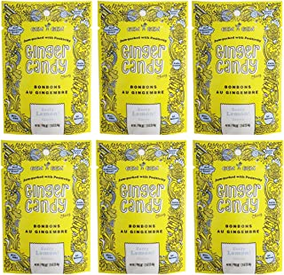 Gem Gem All Natural Chewy Ginger Candy 1.25oz (Lemon, 6 Pack)