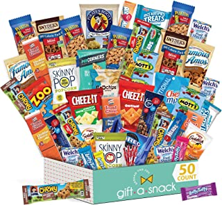 Variety Snack Care Package (50 Count) Gift Box for College Student - Cookies, Chips, Candies, Bars, Crackers - Birthday, Easter Candy Basket, for Men, Women, Boys, Girls, Kids, Adults - Prime Delivery
