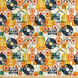 Ambesonne Music Fabric by The Yard, Pattern with Musical Instruments in Flat Design Style Cassette Radio Vinyl Nostalgic, Decorative Fabric for Upholstery and Home Accents, 2 Yards, Yellow Grey