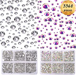 Whaline 3368pcs Crystal AB and Clear Rhinestones Round Flatback Glass, 6 Size for Nails Decoration Crafts Eye Makeup Phone with 2 Storage Case (Mix 1.4mm – 5mm)