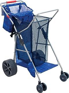 Rio Brands Beach Wonder Wheeler Deluxe Beach Utility Foldable Cart, Blue
