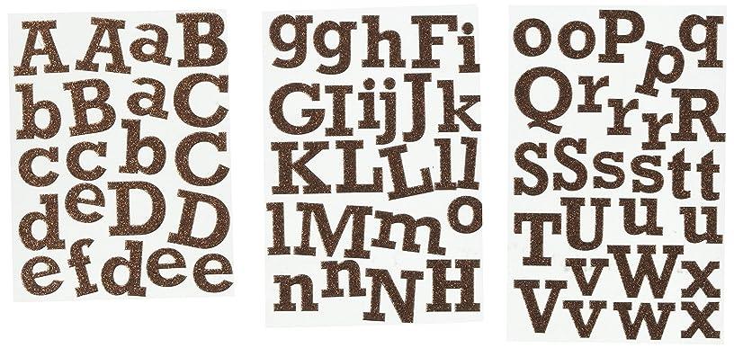 me & my BIG ideas Alpha Chips Designer Chipboard Letter Stickers, Rockwell Alphabet Brown Glitter