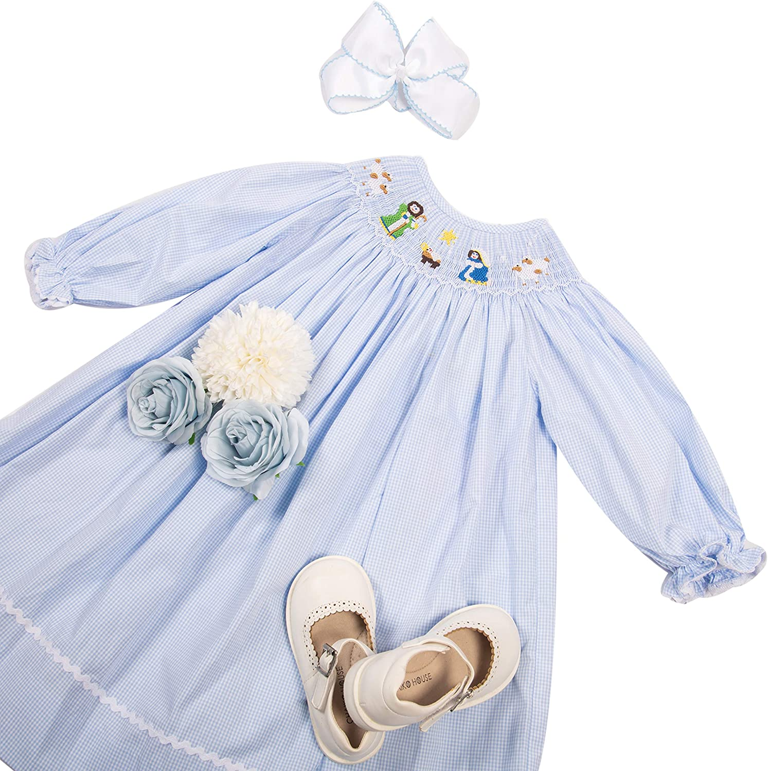 Babeeni Baby Girl Smocked Dress in Bishop Style for Christmas Season with Xmas Nativity Ceremony Hand Smocked Patterns