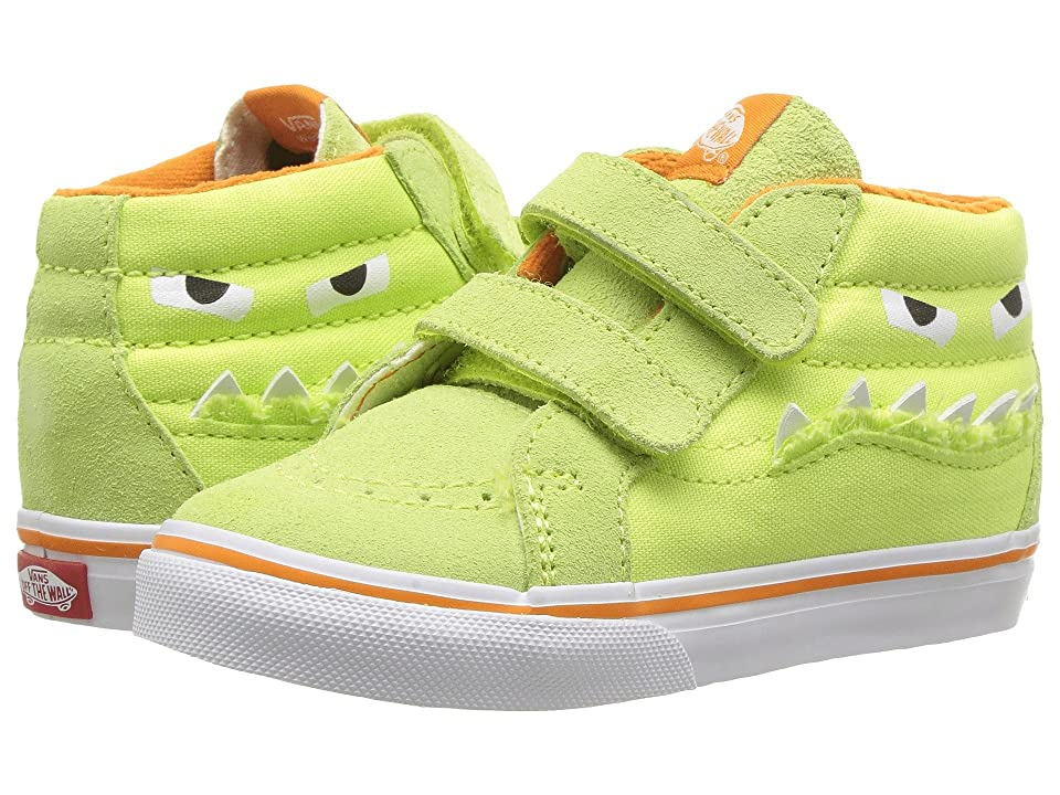 Vans Kids Sk8-Mid Reissue V (Infant/Toddler) ((Monster Face) Green/Russet Orange) Girls Shoes