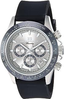 ساعة بيريتز للرجال من ستانلس ستيل كوارتز مع حزام مطاطي، لون اسود، 22.7 (OC6110R)