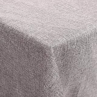 Femor Manteles Efecto Loto Impermeable Resistente a Las Manchas Cuidado Fácil Lavable Mantel de Lino 150 x 300 cm (Gris)