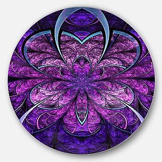 Designart Blue and Purple Fractal Flower Modern Floral Metal Wall Art-Disc of 23, 23'' H x 23'' W x 1'' D 1P