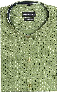 A ForeAN Men's Printed Regular Fit Cotton Blend Full Sleeves Formal Shirt