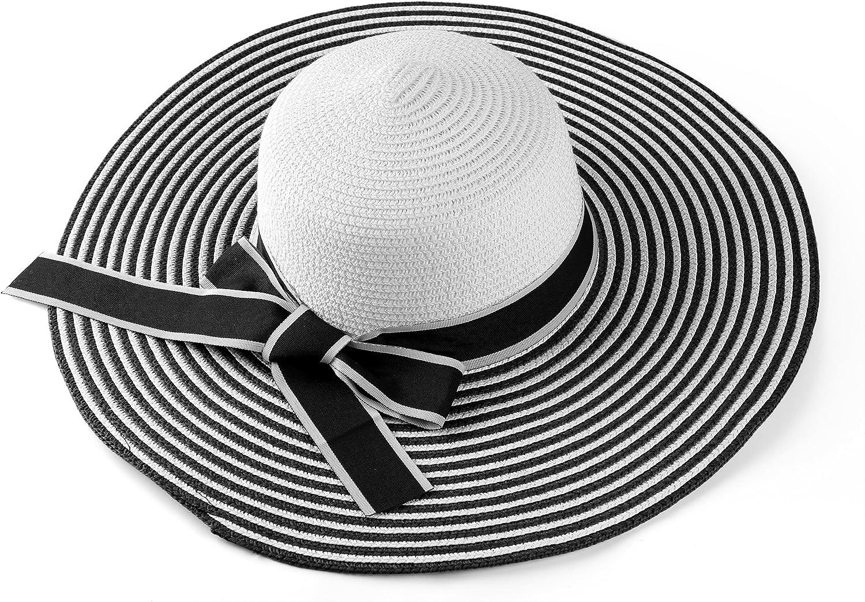 Aerusi Women's Straw Wide Large Brim Floppy Rollup Sun Visor Shade Summer Hat