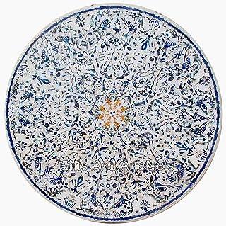 Table de salle à manger ronde en marbre blanc 213 cm avec incrustations de pierres précieuses brillantes
